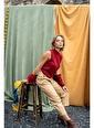 Silk and Cashmere & More Edelina Modal ve Pamuklu Yüksek Yaka Kolsuz Triko Kırmızı